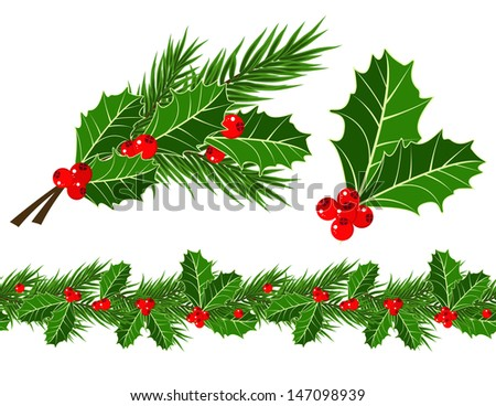 holly leaves and berries  - stock vector
