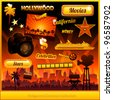 Hollywood cinema movie elements collection - stock