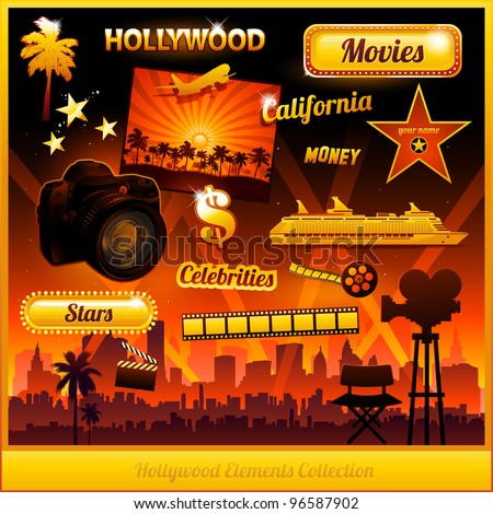 Hollywood cinema movie elements collection - stock vector