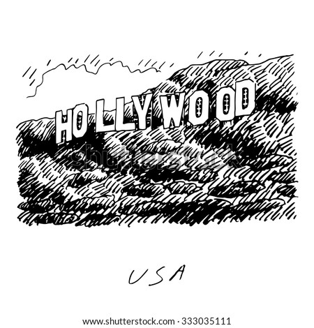 Hollywood Sign Los Angeles California USA Vector Hand Drawn Sketch