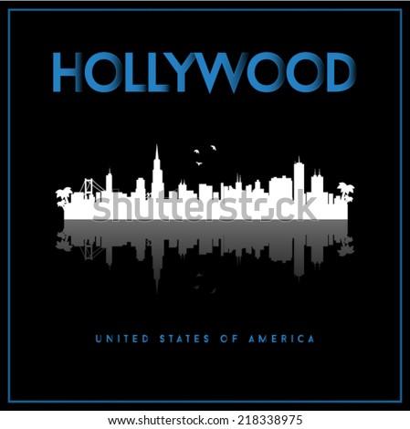 Hollywood, USA skyline silhouette vector design on black background. - stock vector