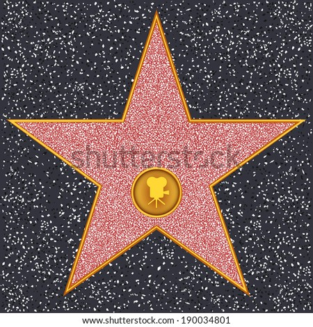 Hollywood Walk of Fame - Classic film camera representing motion picture - stock vector