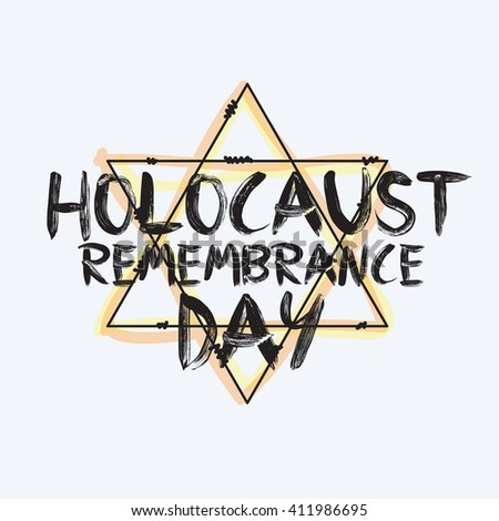 Holocaust remembrance day typography. 5 may. Jewish star. Vector banner, card or logo.  - stock vector