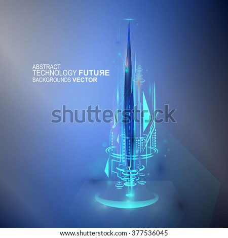 Hologram holographic technology future futuristic concept vector - stock vector