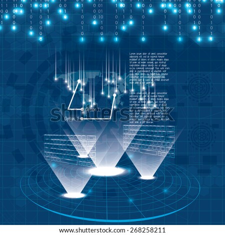 Hologram style futuristic design blue background  - stock vector