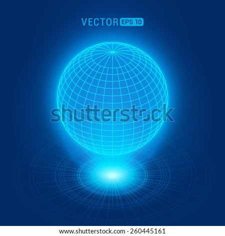 Holographic globe against the blue abstract background with circles and light source