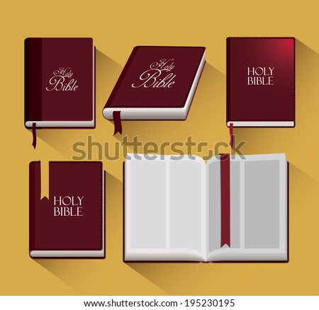 Holy bible design over yellow background, vector illustration - stock vector