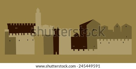 Holy City, Middle East Town, Old Jerusalem ,  Vector illustration - stock vector