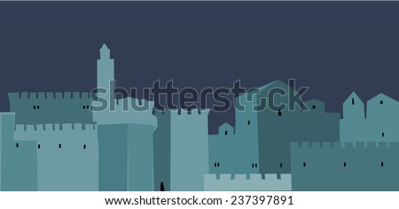 Holy City, Middle East Town, Vector illustration - stock vector