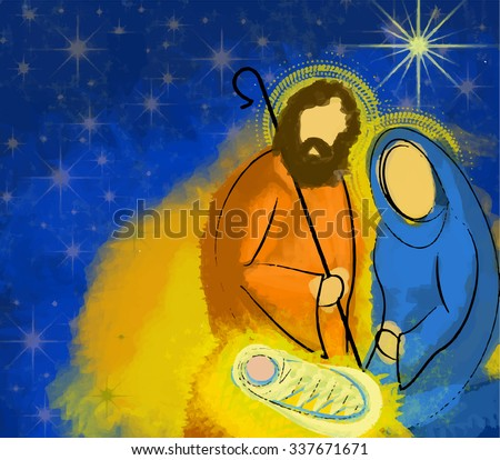Holy family Christmas nativity illustration in a starry night, Mary Joseph and Jesus - stock vector