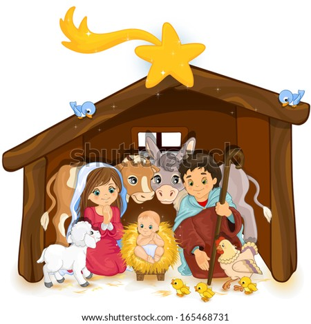 Holy Family in a hut and white background-transparency and blending effects gradient mesh-EPS 10 - stock vector