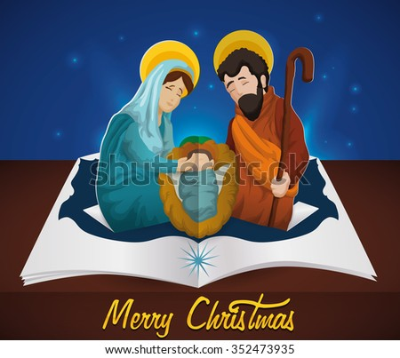 Holy Family in pop-up book under the night sky for Christmas season. - stock vector