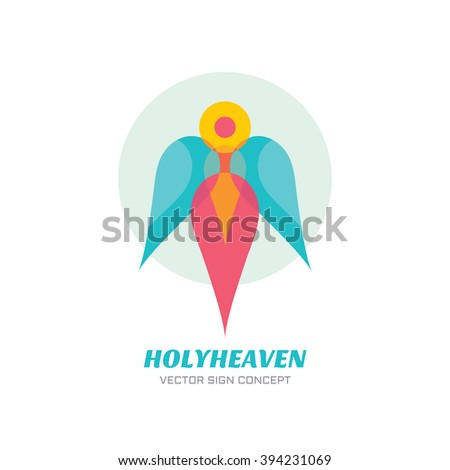 Holy heaven - vector logo concept illustration. Archangel logo sign. Guardian angel logo sign. Human character with wings. Christmas sign. Vector logo template. Design element. - stock vector