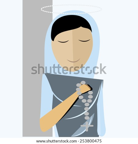 holy mary, blue  mantle with rosary - stock vector