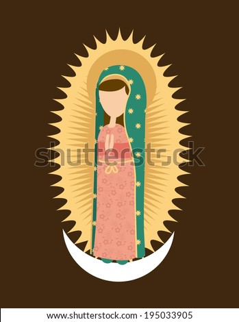 Holy Mary design over brown background, vector illustration - stock vector