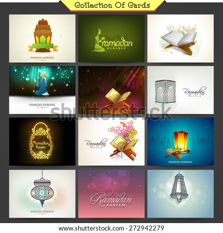 Holy month of Muslim community, Ramadan Kareem celebration cards decorated with different Islamic elements.  - stock vector