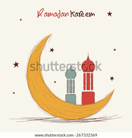 Holy month of muslim community, Ramadan Kareem celebration greeting card with colorful moon and islamic mosque on stars decorated background. - stock vector