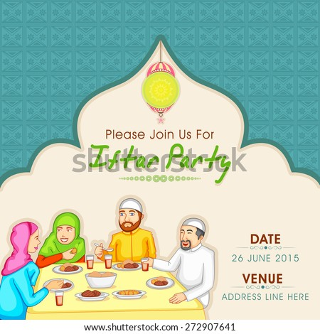 Holy month of Muslim community, Ramadan Kareem celebration invitation card with illustration of a Islamic family enjoying and celebrating Iftar Party. - stock vector