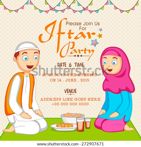 Holy month of Muslim community Ramadan Kareem celebration invitation card with Islamic couple enjoying Iftar Party. - stock vector