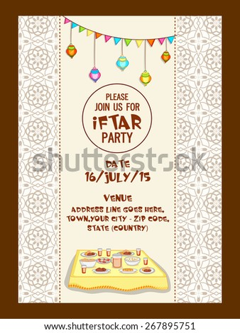Holy month of Muslim community, Ramadan Kareem Iftar party celebration invitation card with delicious food, date, time and place details. - stock vector
