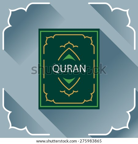 Holy Quran. Koran. Logo, card, symbol, design element in flat style. - stock vector