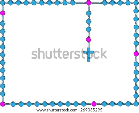 Holy Rosary. Blue frame with rosary. Brown wooden catholic rosary beads, religious symbols, rosary necklace, praying symbol. Vector illustration. - stock vector