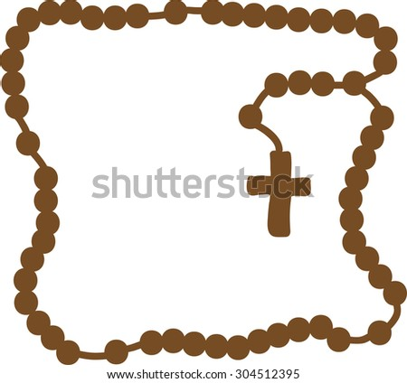 Holy Rosary. Brown frame with rosary. Brown wooden catholic rosary beads, religious symbols, rosary necklace, praying symbol. Vector illustration. - stock vector