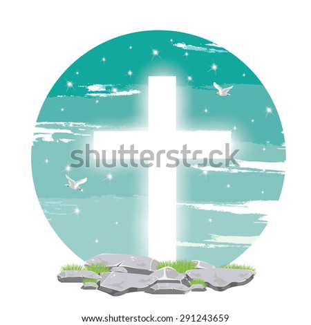 Holy spirit dove flies in blue sky,light  from heaven, Christian symbol - stock vector