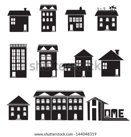 Home and apartment vector icons set - stock vector