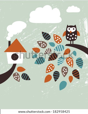 Home and bird House and owl on the brunch. Color vector illustration. - stock vector