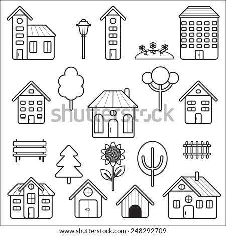 Home and exterior outline stroke symbol vector icons
