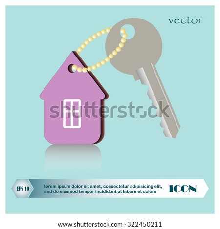 home and key icon, real estate - stock vector