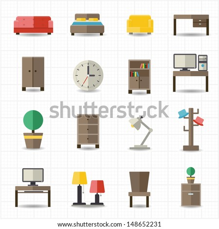 Home and office furniture interiors - stock vector