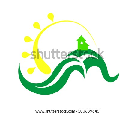 Home and sun - stock vector
