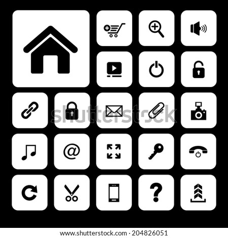 home and technology vector icon set for website