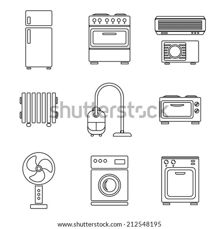 Home appliance icons set, outlined, isolated on white background, vector illustration. - stock vector