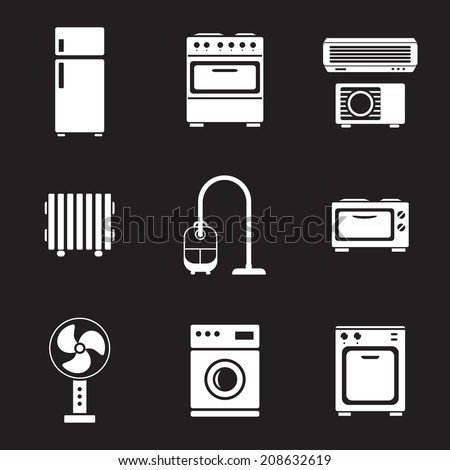 Home appliance icons set, white isolated on black background, vector illustration. - stock vector