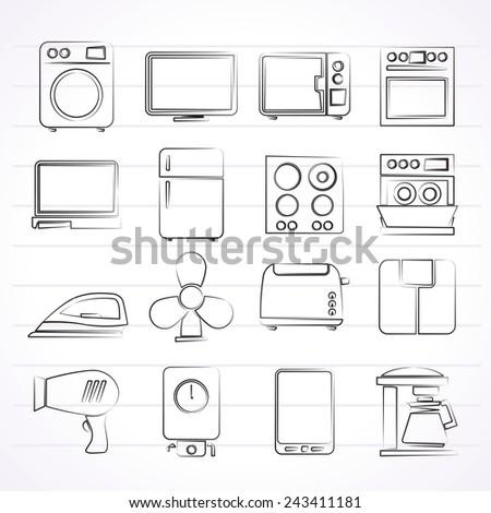 home appliance icons - vector icon set - stock vector