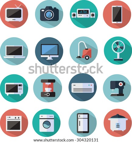 home appliances and electronics flat icons set - stock vector