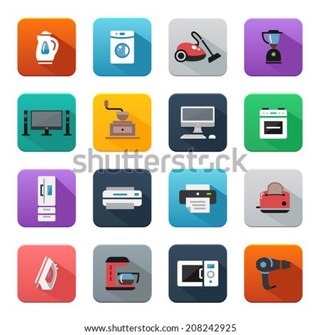 Home appliances and electronics, flat style icons - stock vector