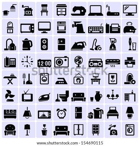 Home appliances and furniture - stock vector