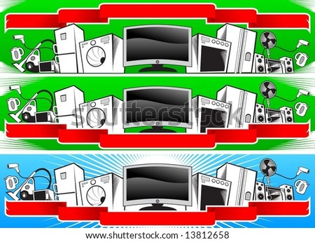 home appliances banners - stock vector