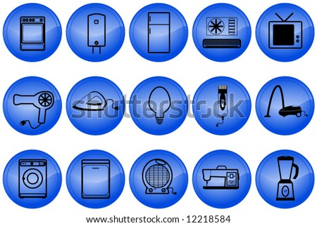 Home appliances buttons - stock vector