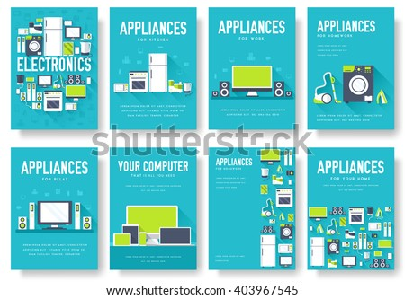 Home appliances cards set. Electronics template of flyear, magazines, posters, book cover, banners. Devices infographic concept background. Layout illustrations template pages with typography text - stock vector