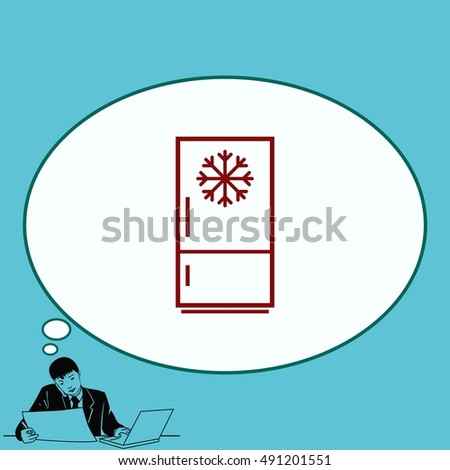 Home appliances icon. Refrigerator icon. Vector illustration. Kitchenware.