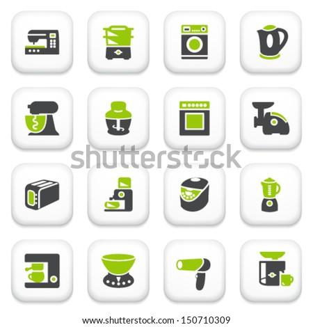 Home appliances icons green gray series stock vector