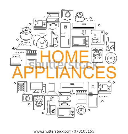Home appliances. Icons of home appliances arranged in a circle in the style of the line. Banner or poster with home appliances. - stock vector