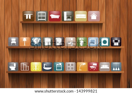 Home appliances icons on wood shelf display, Vector illustration template design - stock vector