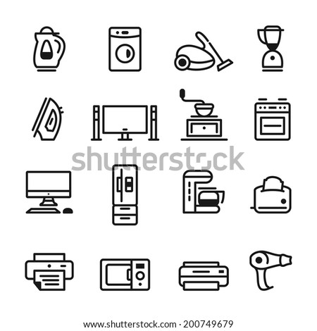 home appliances icons set. template elements for web and applications - stock vector