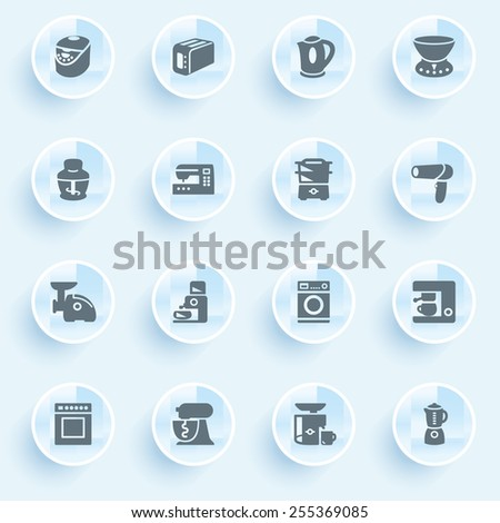 Home appliances icons with buttons on blue background. - stock vector
